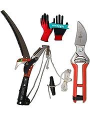 Juego de herramientas de jardín, tenedor de pértiga con tronzador de 32 mm + sierra de 35 cm, con doble cuerda y tijeras de poda de acero inoxidable de 21 cm, guantes protectores de regalo