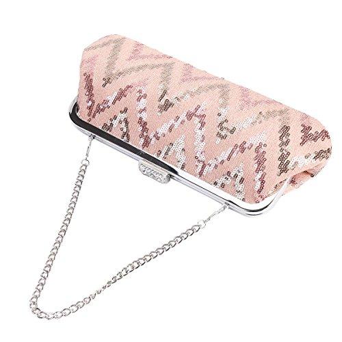 Damara Lentejuela Mujeres Cartera Embrague Bolso De Teléfono Móvil,Pink Pink