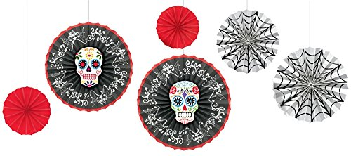 Amscan Day Of The Dead Halloween Party Assorted Sized Sugar Skull Hanging Fan Decoration (6 Piece), 16