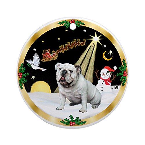 CafePress Night Flight/English Bulldog 1 Ornament (Round) Round Holiday Christmas Ornament Bulldog White Christmas Ornament