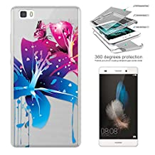 c00784 - Beautiful Hawaii Hibiscus Flower Tropical Floral Butterfly Design Huawei P8 LITE Complete 360° Degrees Hard Plastic Protection Case Cover Front&Back Case+Tempered Glass Screen