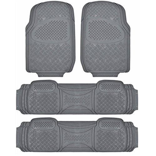 BDK Heavy Duty Van SUV Rubber Floor Mats - 4 Pieces 3 Rows Full Set- All Weather Trimmable Mat (Door 4 Piece Floor Mat)