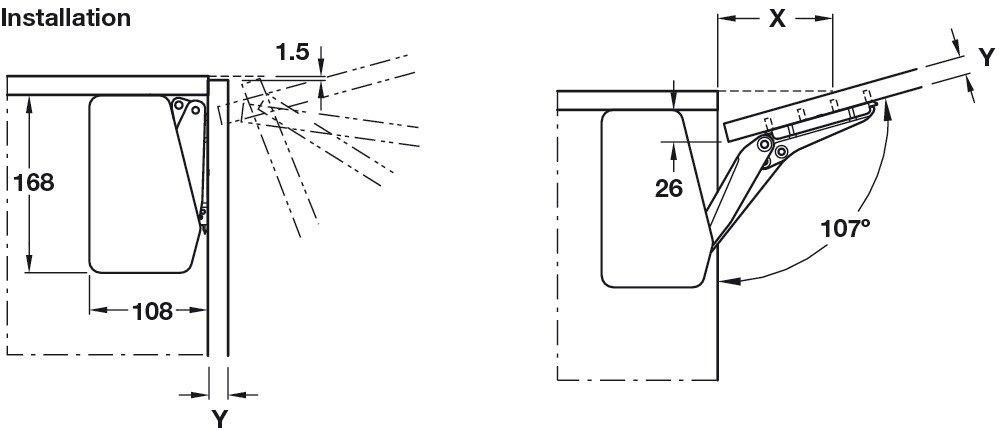 Gedotec Hochschwenkbeschlag Klappenbeschlag Klappenhalter Free Flap 1.7 f/ür einteilige Klappen Abdeckkappen wei/ß Modell C 2,7-14,7 kg 1 Garnitur Komplett Set inkl