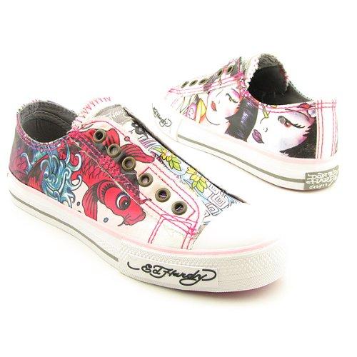 898c290058 Ed Hardy Pink Off White Grey Koi Fish Geisha Shoes Sneakers 18FLR605W (5)  (B001E363OY)