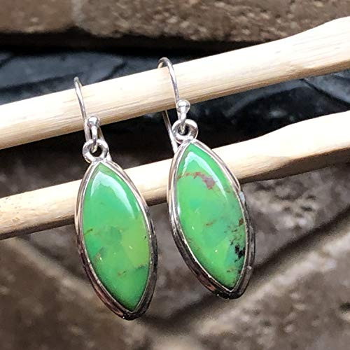 Gorgeous Green Copper Turquoise 925 Solid Sterling Silver Dangle Earrings 35mm Long