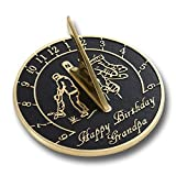 Happy Birthday Grandpa Sundial Gift. New Idea For His Garden Or As An Ornament From Grandson, Granddaughter Or Grandkids. Lasting Card For Him On His Birthday. Handmade In England By The Metal Foundry