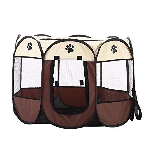 Bestmemories Anti-Bite Pet Playpen, Portable, Foldable, Waterproof, 8-side Mesh Puppy Dog Kitty Cat Rabbit Exercise Kennel Crates Playpen with Zipper Door for Traveling Camping Outdoor Indoor ()