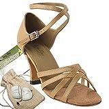 Women's Ballroom Dance Shoes Tango Wedding Salsa Dance Shoes Beige Brown Leather 1606EB Comfortable - Very Fine 2.5'' Heel 6 M US [Bundle of 5]
