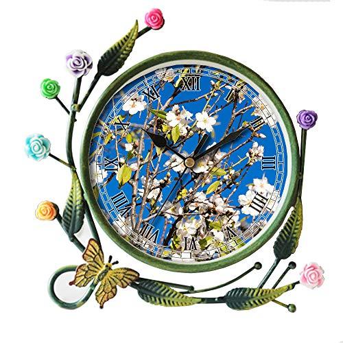 girlsight Iron Art Living Room Butterfly Flower Leaf Decorative Non-Ticking Quartz, Analog Large Numerals Bedside Table Desk Alarm Clock-015.Almond Tree, Spring, Almond Blossom, Pink -