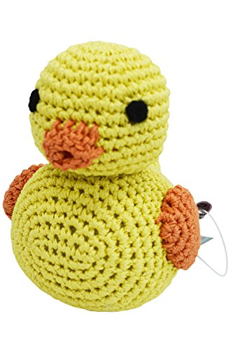 DOGO 100 Dog Teeth Cleaning Cotton Crochet Squeaky Dog Toy for Small Dog - Yellow Duck