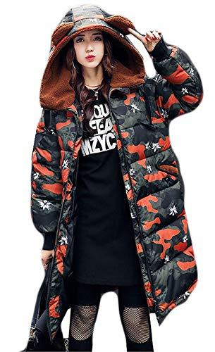 Bolsillos Naranja Impresión Moda Cremallera Invierno Abrigo Capucha Estilo Abajo Moderno Larga Con Battercake Manga Delanteros Chaqueta Mujer Chic Parker UF8Wawzq