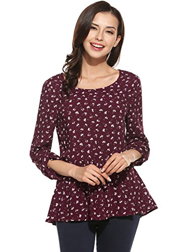 ANGVNS Womens Floral Blouse Sleeves