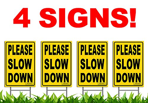 Bundle of (4) PLEASE SLOW DOWN 12'' x 18'' Yellow Safety Sign + Metal Ground Stakes by Signs'R Us
