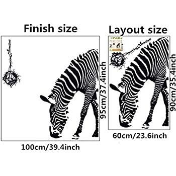 Zebra Wall Stickers DIY Mural Art Decal Self Adhesive Removable PVC Wall  Paper Decor,23.6 Part 96