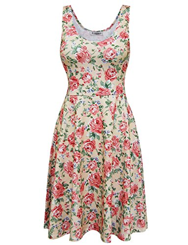 Tom's Ware Womens Casual Fit and Flare Floral