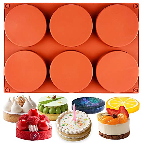 Funshowcase Round Disc Baking Silicone Mold 6-Cavity, 4inch, Circle Epoxy Resin Tray, Chocolate Cake Pie Custard Tart Muffin Sandwiches Eggs Bakeware, Soap Concrete Cement Plaster Pan ()