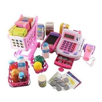 Spielzeugkasse mit Zubehör, Spielgeld und Einkaufswagen / Kasse