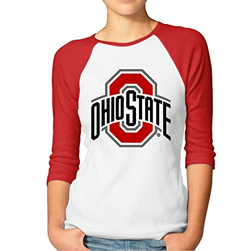 Ladies Ohio State Buckeyes 3/4 Sleeve Baseball Tshirt Raglan Jersey Shirt