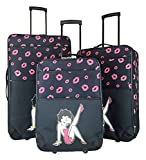 3Pc Luggage Set Travel Bag Rolling Wheel CarryOn Expandable Upright Betty Boop