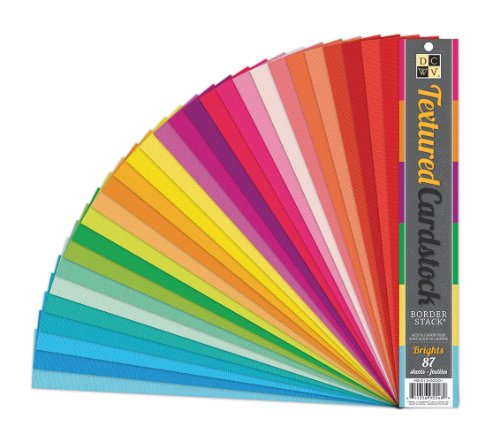 DCWV Border Stack, Textured Cardstock, Brights, 87 Strips, 2 x 12 inches (View Textured Cardstock)