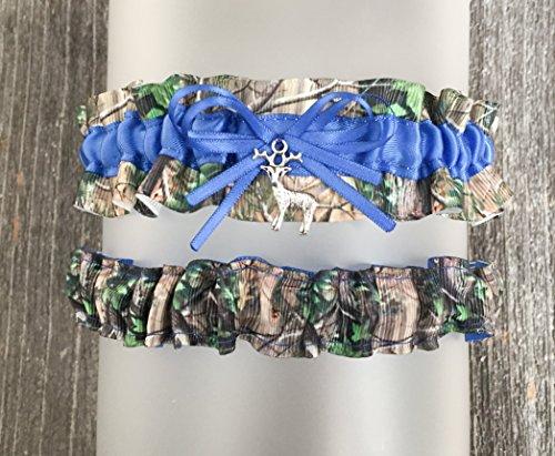 Sexy Royal Blue Camouflage Satin Camo Wedding Bridal Garter SET - Deer Charm