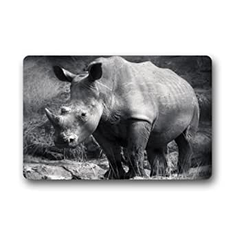 "Mayers Excellent Door Mat - Hot Sale With Black And White Rhino Wild Animal Doormat-23.6""(L)x15.7""(W),3/16"""