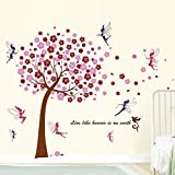 Walplus 1Z-BF2Z-DSE4 Wall Stickers Combo Huge Pink Tree Plus Fairies - Office Home Decoration, 175cm x 150 cm, PVC, Self-Adhesive, Multi-Color
