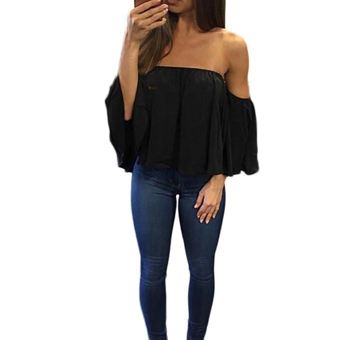 Yidarton Mujer De Camiseta Fuera del Hombro Mangas 3/4 Suelta Tops Blusa para Verano