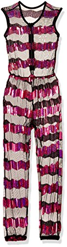 Gia-Mia Dance Big Girls' Sequin Stripe Jumper Dance Stretch Mesh Costume Performance Team, Pink, M (Jumper Sequin)