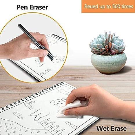 6.9X9.8-B5 R/éutilisable Cahier Intelligent Spirale Notebook /Éternel Sec Humide Effa/çable Stockage APP B5 Taille 60 Pages inclus M/&G Effa/çable Stylo Chiffon pour Effacer