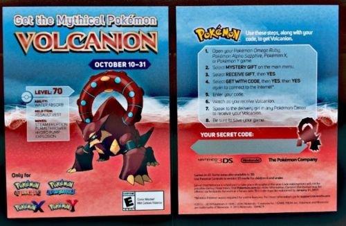 XY/ORAS] Gamestop Mythical Pokemon Volcanion Code