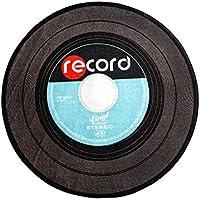 Carvapet Retro Music Record LP Vinyl Black CD Non-Slip Creative Design Round Area Rug, Blue, 33 Diameter