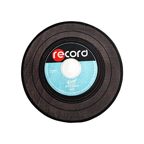 Carvapet Retro Music Record LP Vinyl Black CD Non-Slip Creative Design Round Area Rug, Blue/Grey, 2'7