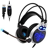 Sades SA908 PC Gaming Headset Physical 7.1 Surround Sound USB Wired Computer Headphones with Microphone Flexible,Volume Control Over Ear LED Lighting Noise Cancelling for Gamers,Black/blue