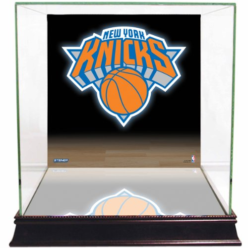 NBA New York Knicks Glass Basketball Display Case with Team Logo Background