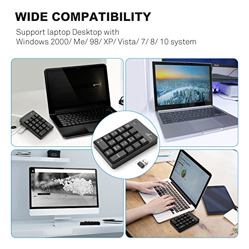 Wireless Numeric Keypad, Vive Comb External Number Pad Portable Numpad With 2.4G Mini USB Receiver for Laptop, Desktop, PC, Notebook-Black by Vive Comb (Image #6)