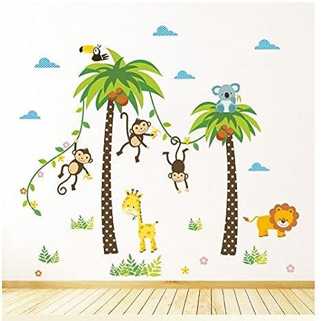Felices monos, palmas, animales. Árbol de hojas Pegatinas de pared de colores.