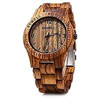 Bewell Mens Wooden Watch Analog Quartz Lightweight Handmade Wood Wrist Watch with Date