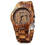 Bewell Mens Wooden Watch Analog Quartz Lightweight Handmade Wood Wrist Watch (Zebra Wood) W086B