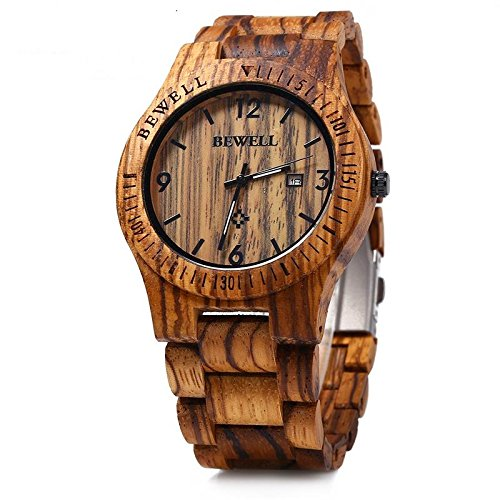 Bewell W086B Mens Wooden Watch Analog Quartz Lightweight Handmade Wood Wrist Watch (Zebra Wood) Watches
