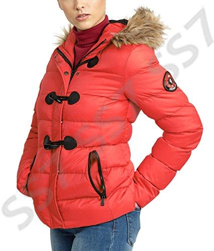 Red 16 Kaki Rouge Veste Tailles Ss7 8 Parka Hiver Femmes Matelassé qzw7HF