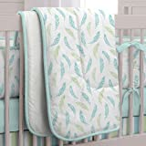 Carousel Designs Aqua Feathers and Stripes Crib Comforter