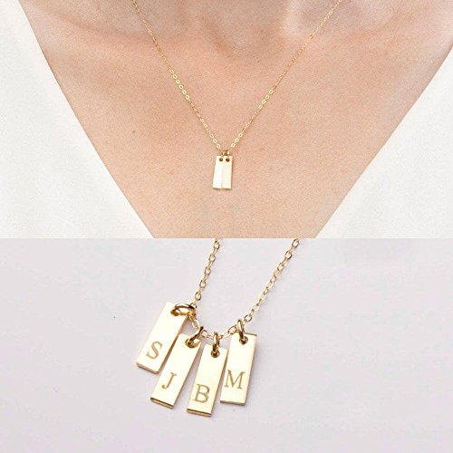 Custom Small Rectangle Bar Necklace-Kids Initials-Children-Mother's Family Jewelry-Pendants-Gold Filled,Rose,Sterling Silver-CG279N_4X13
