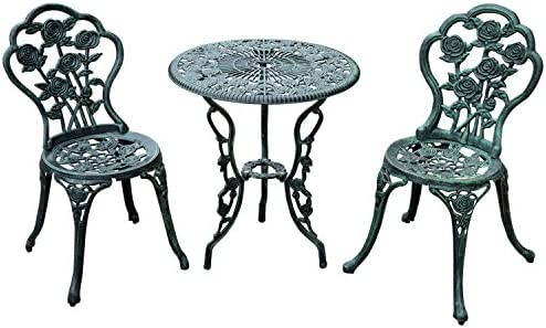 Amazon Com Outsunny 3 Piece Outdoor Cast Iron Patio Furniture