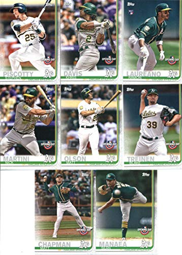 2019 Topps Opening Day Baseball Oakland Athletics Team Set of 8 Cards: Matt Chapman(#135), Sean Manaea(#143), Blake Treinen(#146), Matt Olson(#152), Nick Martini(#159), Ramon Laureano(#160), Khris Davis(#185), Stephen Piscotty(#194)