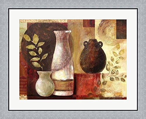 Spice Vases II by Marietta Cohen Framed Art Print Wall Picture, Flat Silver Frame, 32 x 26 inches