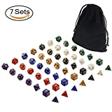 D&D Dice Sets, 7 Full Sets Polyhedral Dice Sets with Drawstring Bag for RPG, Dungeons and Dragons, Rolling Game, Pathfinder and MTG, Including Red, Black, White ,Godden, Green, Blue and Purple.
