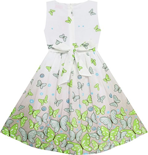 EY63 Sunny Fashion Big Girls' Dress Butterfly Green Double Bow Tie Summer Beach 7-8 by Sunny Fashion (Image #3)