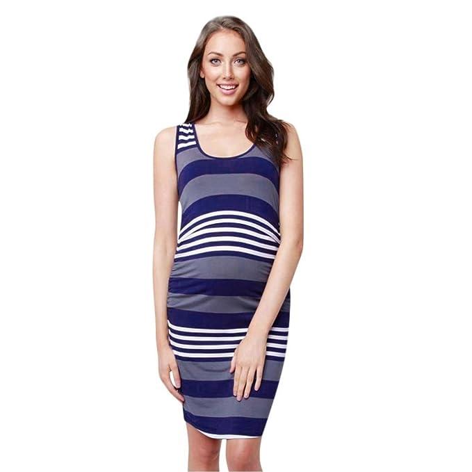 QinMM Vestido a Rayas Lactancia de Mujer Embarazo, Premamá Blusa Maternidad Verano Camiseta Camisón Pijama