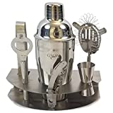 GSCW Bar Set with FREE Ice Bucket - 10 Piece Stainless Steel Cocktail Shaker Set with Stand - Includes Martini Shaker, Double Jigger, Strainer, Corkscrew, Bottle Opener, Tongs, Stirrer, & Cheese Knife